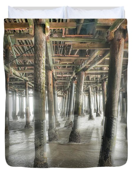 Duvet Cover featuring the photograph Under The Boardwalk Into The Light by David Zanzinger