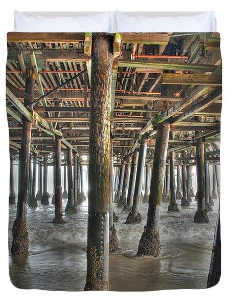 Duvet Cover featuring the photograph Under The Boardwalk Pier Sunbeams  by David Zanzinger