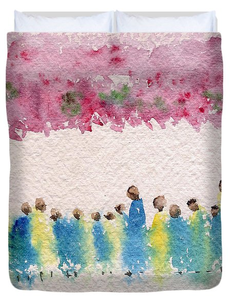 Under The Canopy Of Cherry Blossoms Duvet Cover
