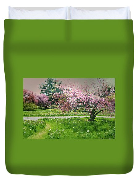 Duvet Cover featuring the photograph Under The Cherry Tree by Diana Angstadt