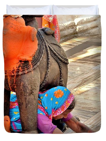 Under The Elephant - Narmada Temple At Arkantak India Duvet Cover