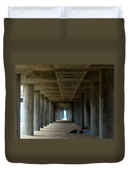 Under The Huntington Beach Pier Duvet Cover by Lori Seaman