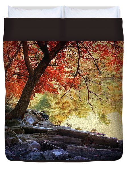 Duvet Cover featuring the photograph Under The Maple by Jessica Jenney
