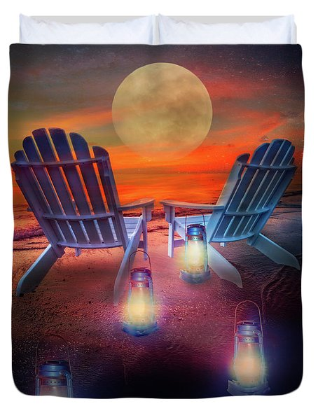 Duvet Cover featuring the photograph Under The Moon by Debra and Dave Vanderlaan