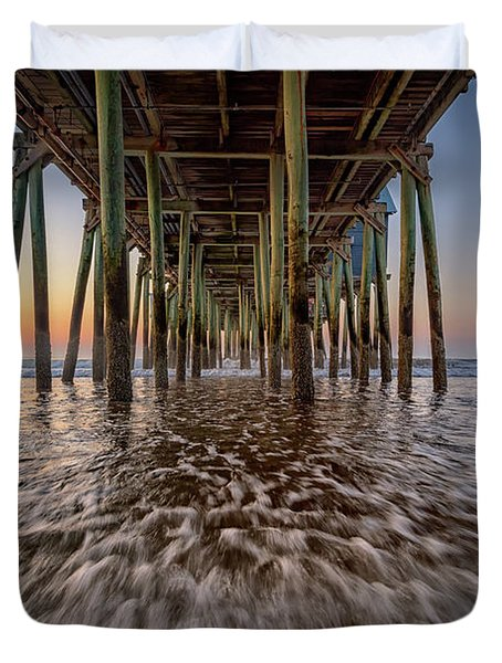 Under The Pier At Old Orchard Beach Duvet Cover