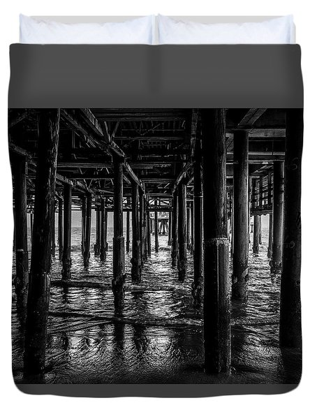 Under The Pier - Black And White Duvet Cover