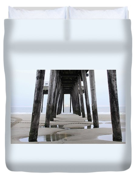 Duvet Cover featuring the digital art Under The Pier by Sharon Batdorf