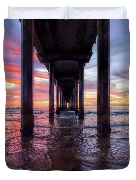 Under The Pier Sunset Duvet Cover