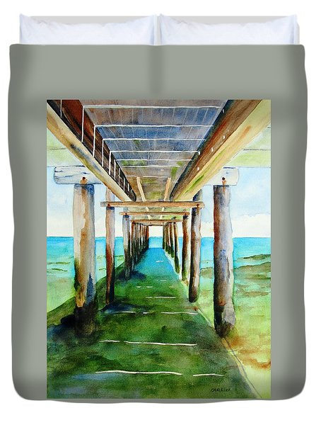 Under The Playa Paraiso Pier Duvet Cover