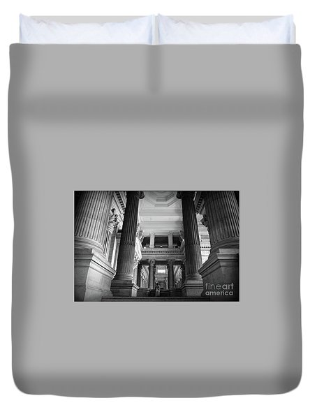 Duvet Cover featuring the photograph Under The Scaffolding Of The Palace Of Justice - Brussels by RicardMN Photography