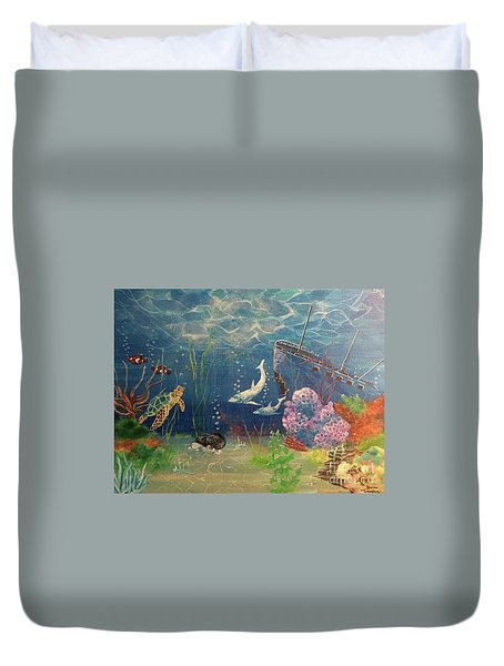 Duvet Cover featuring the painting Under The Sea by Denise Tomasura