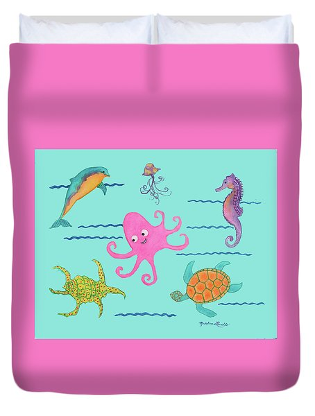Under The Sea, Pink Octopus Duvet Cover