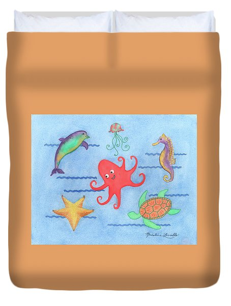 Under The Sea, Red Octopus Duvet Cover