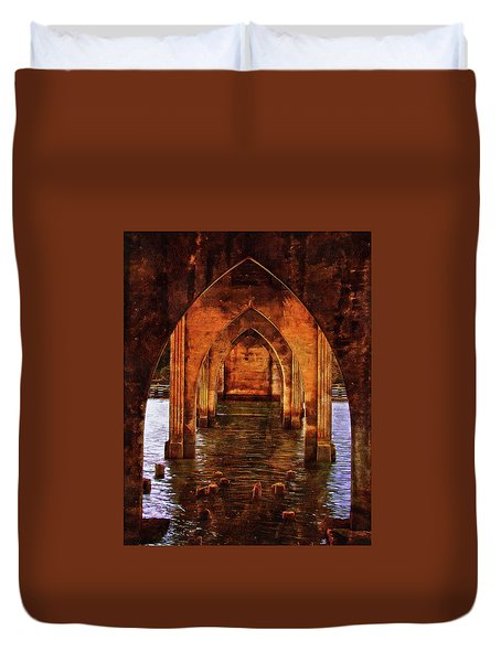 Duvet Cover featuring the photograph Under The Siuslaw River Bridge by Thom Zehrfeld