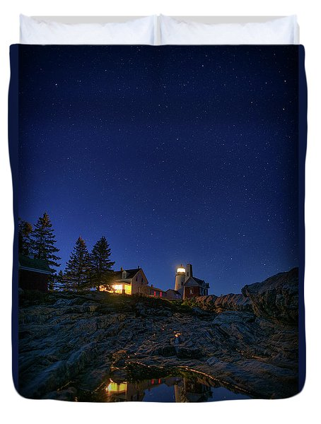 Under The Stars At Pemaquid Point Duvet Cover by Rick Berk
