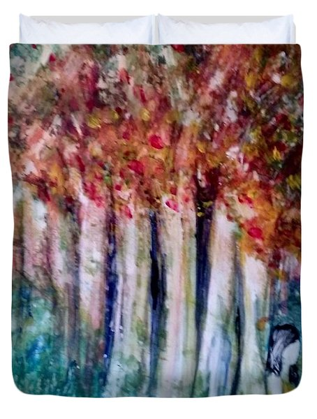 Duvet Cover featuring the painting Under The Trees by Deborah Nell