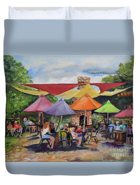 Duvet Cover featuring the painting Under The Umbrellas At The Cartecay Vineyard - Crush Festival  by Jan Dappen