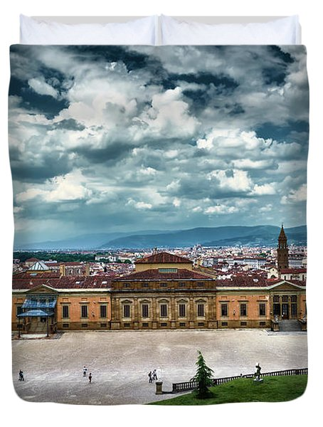 The Meridian Palace And Cityscape In Florence, Italy Duvet Cover