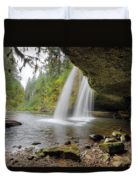Under Upper Butte Creek Falls In Autumn Duvet Cover by David Gn