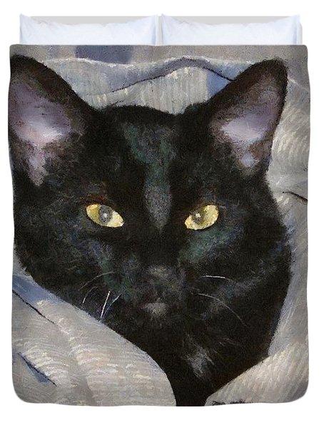 Undercover Kitten Duvet Cover by Jeff Kolker