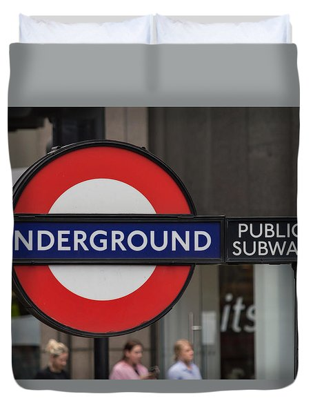 Underground Sign London Duvet Cover