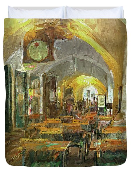 Underneath The Arches - Street Cafe, Prague Duvet Cover