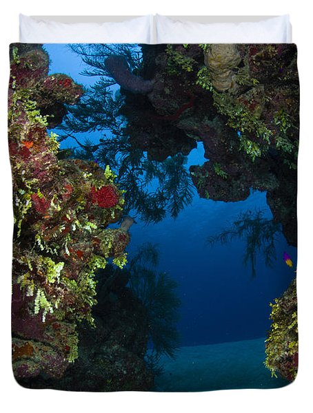 Underwater Crevice Through A Coral Duvet Cover