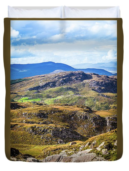 Duvet Cover featuring the photograph Undulating Green, Purple And Yellow Rocky Landscape In  Ireland by Semmick Photo