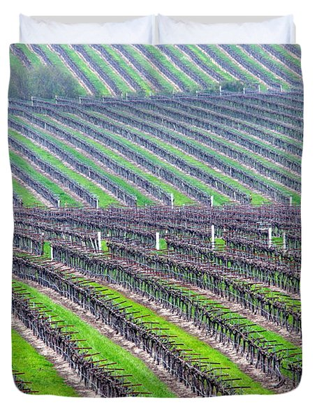 Undulating Vineyard Rows Duvet Cover