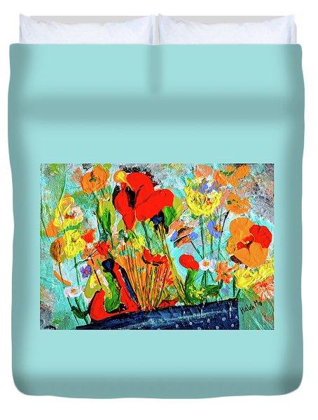 Unexpected Flower Basket Duvet Cover