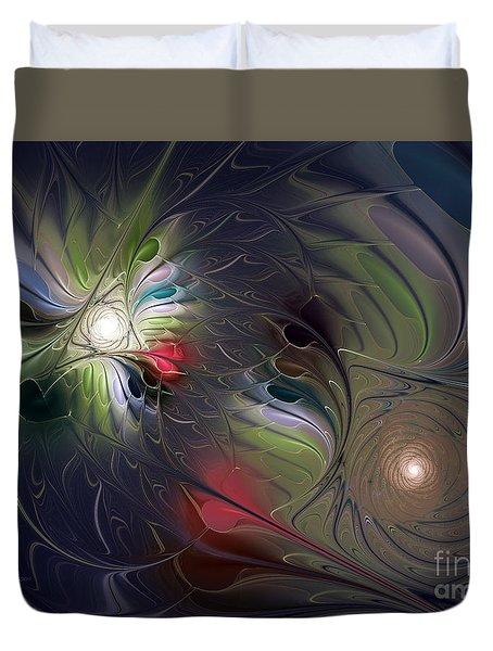 Duvet Cover featuring the digital art Unfading by Karin Kuhlmann
