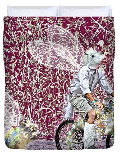 Unicorn And Doggie Fairies Duvet Cover