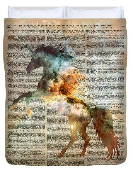 Unicorn Carina Nebula Duvet Cover by Jacob Kuch