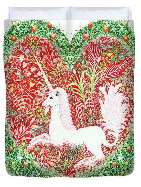 Unicorn Heart With Millefleurs Duvet Cover
