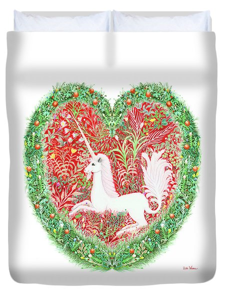 Unicorn Heart With Millefleurs Duvet Cover