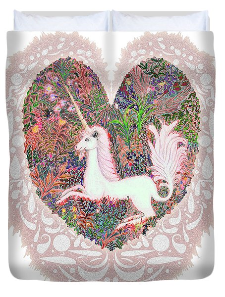 Unicorn In A Pink Heart Duvet Cover