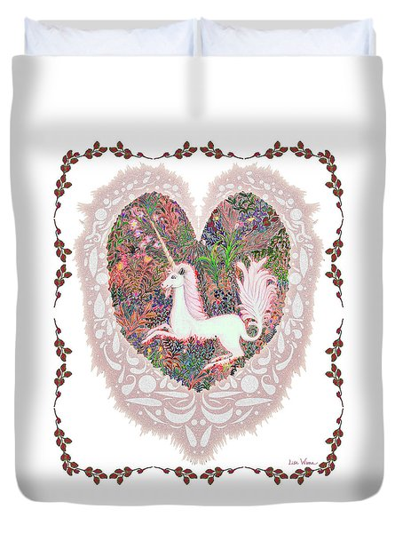 Unicorn In A Pink Heart Duvet Cover by Lise Winne