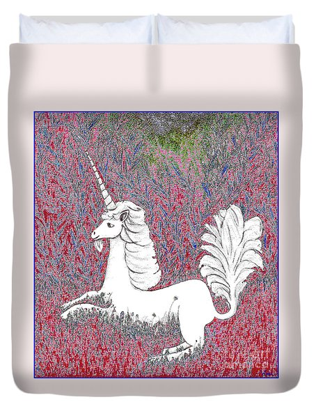 Unicorn In A Red Tapestry Duvet Cover