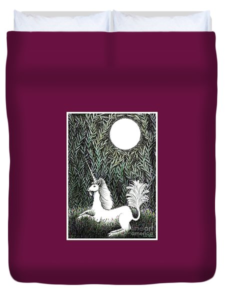 Unicorn In Moonlight Duvet Cover by Lise Winne