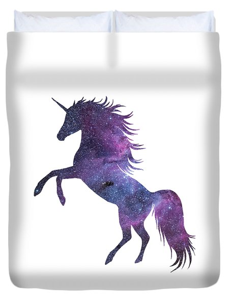 Unicorn In Space-transparent Background Duvet Cover
