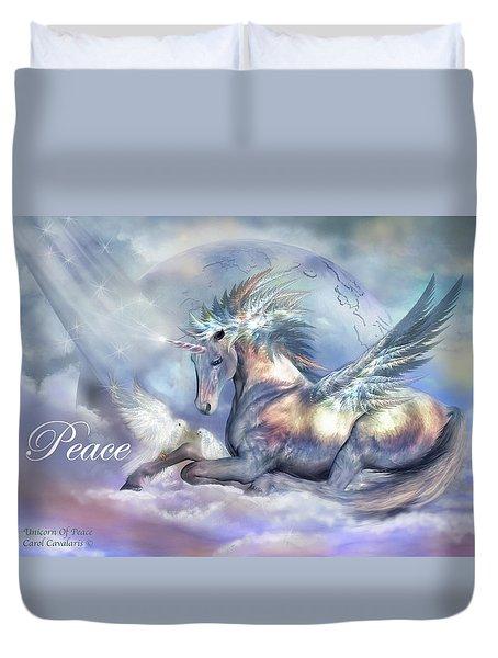Unicorn Of Peace Card Duvet Cover by Carol Cavalaris