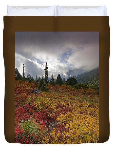 Unicorn Peak Duvet Cover by Mike  Dawson