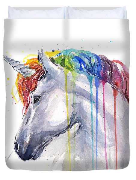 Unicorn Rainbow Watercolor Duvet Cover by Olga Shvartsur
