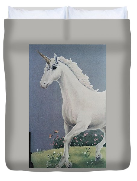 Unicorn Roaming The Grass And Flowers Duvet Cover