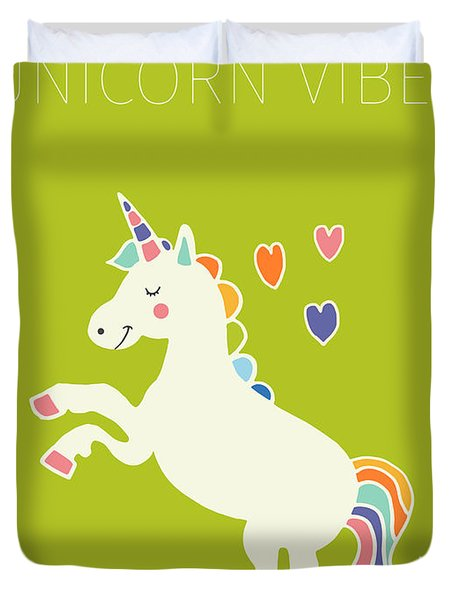 Unicorn Vibes Duvet Cover by Nicole Wilson
