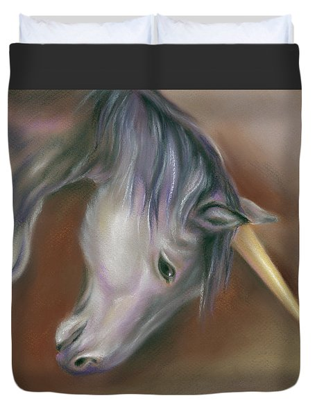 Unicorn With A Golden Horn Duvet Cover