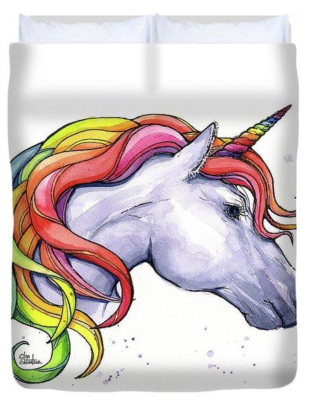 Unicorn With Rainbow Mane Duvet Cover