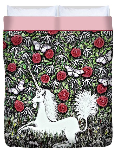 Unicorn With Red Roses And Butterflies Duvet Cover