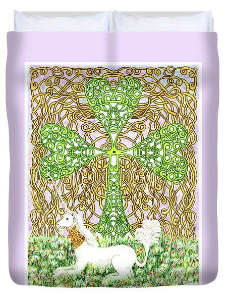 Unicorn With Shamrock Duvet Cover