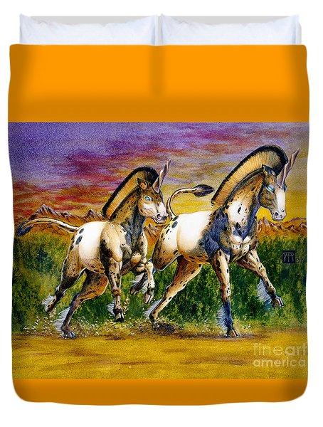 Unicorns In Sunset Duvet Cover by Melissa A Benson